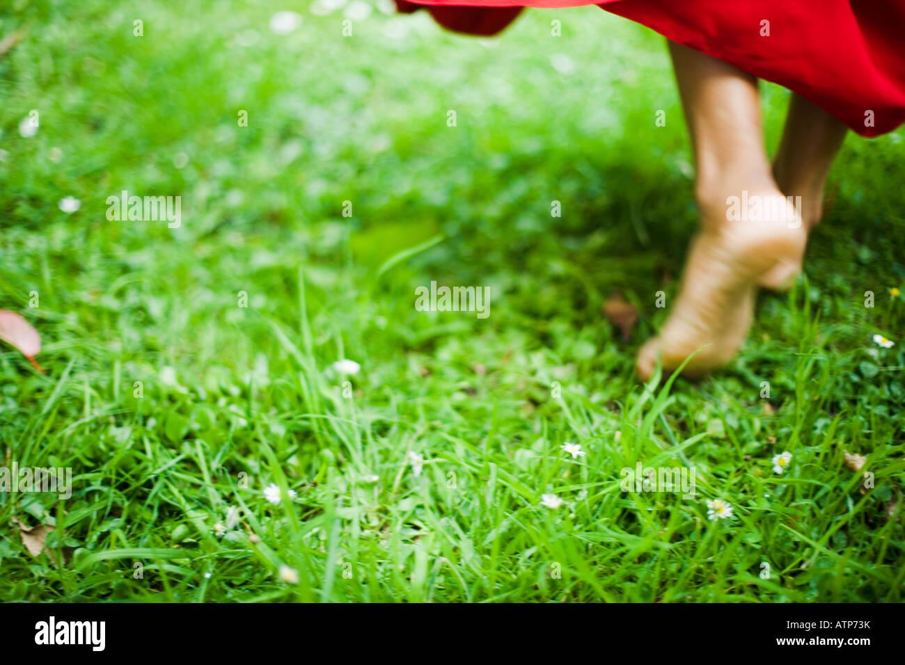 Pies danzantes en rojo sari Imagen De Stock