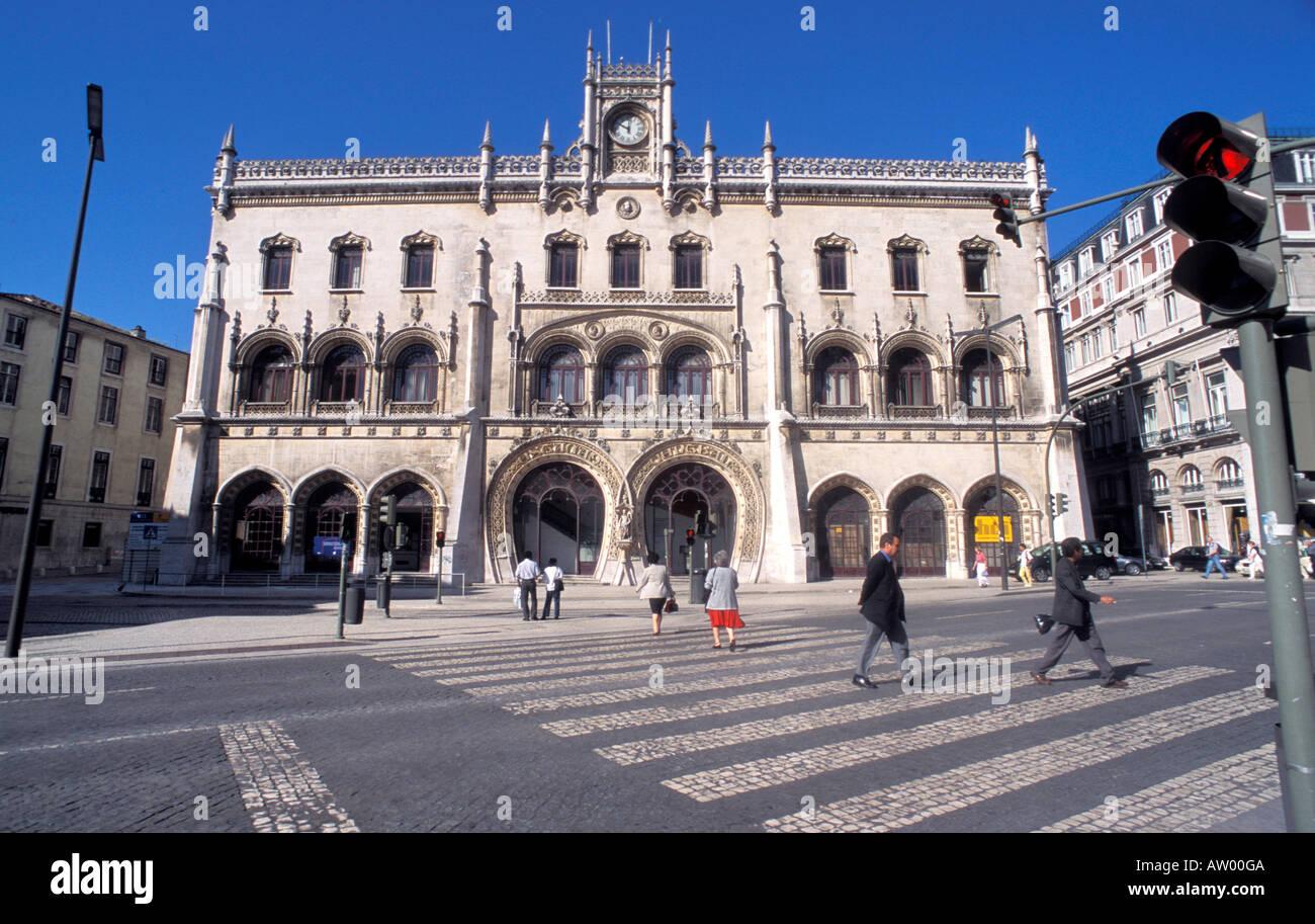 Esta��o do Rossio estación de trenes históricos Lisbona Portugal Europa Foto de stock