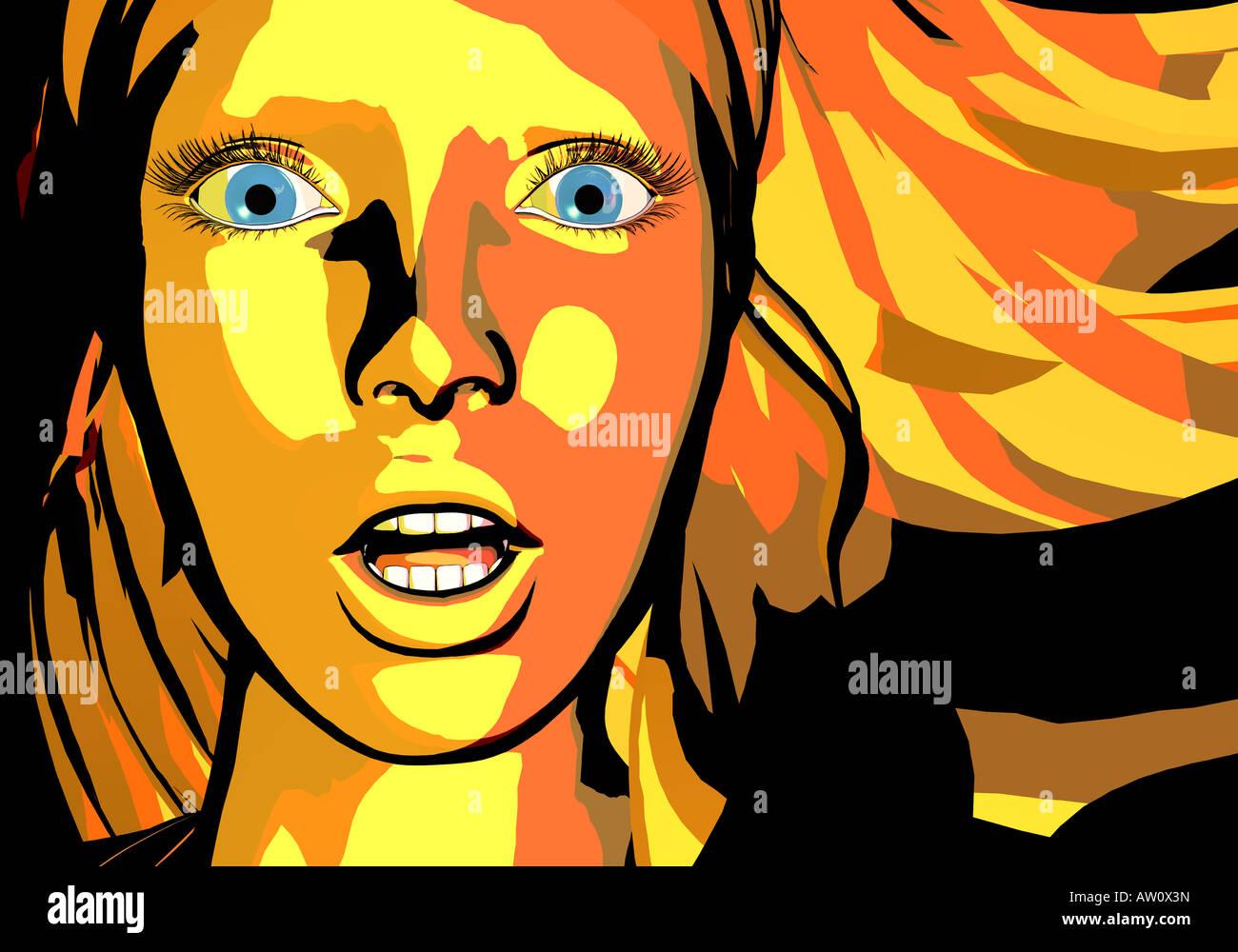 Ilustración de una mujer, cerrar Foto de stock