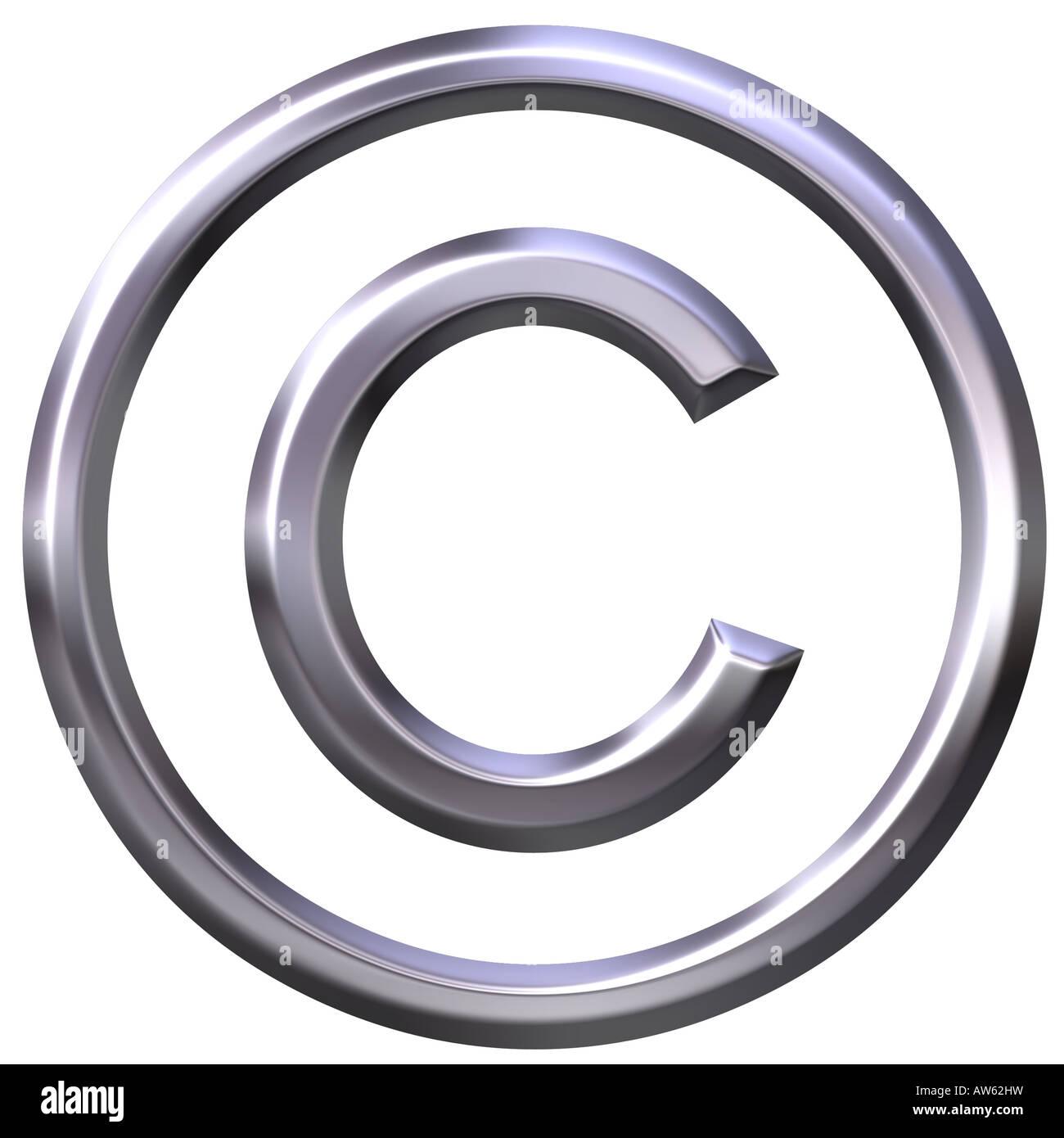 3d plata símbolo de copyright Foto de stock