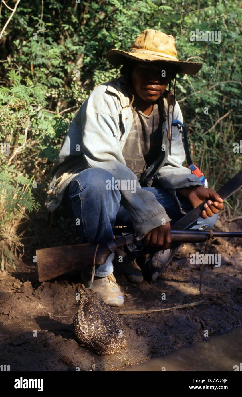 Un indígena cazador en el bosque mirando un sapo grande Imagen De Stock
