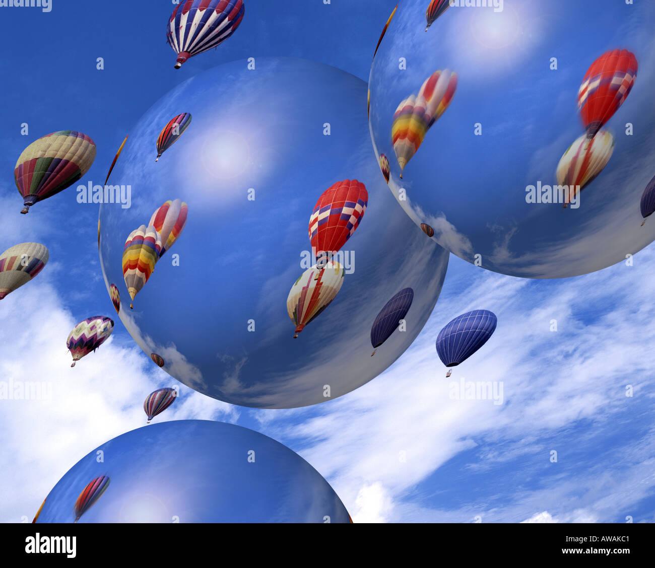 Concepto digital: los globos de aire caliente Imagen De Stock