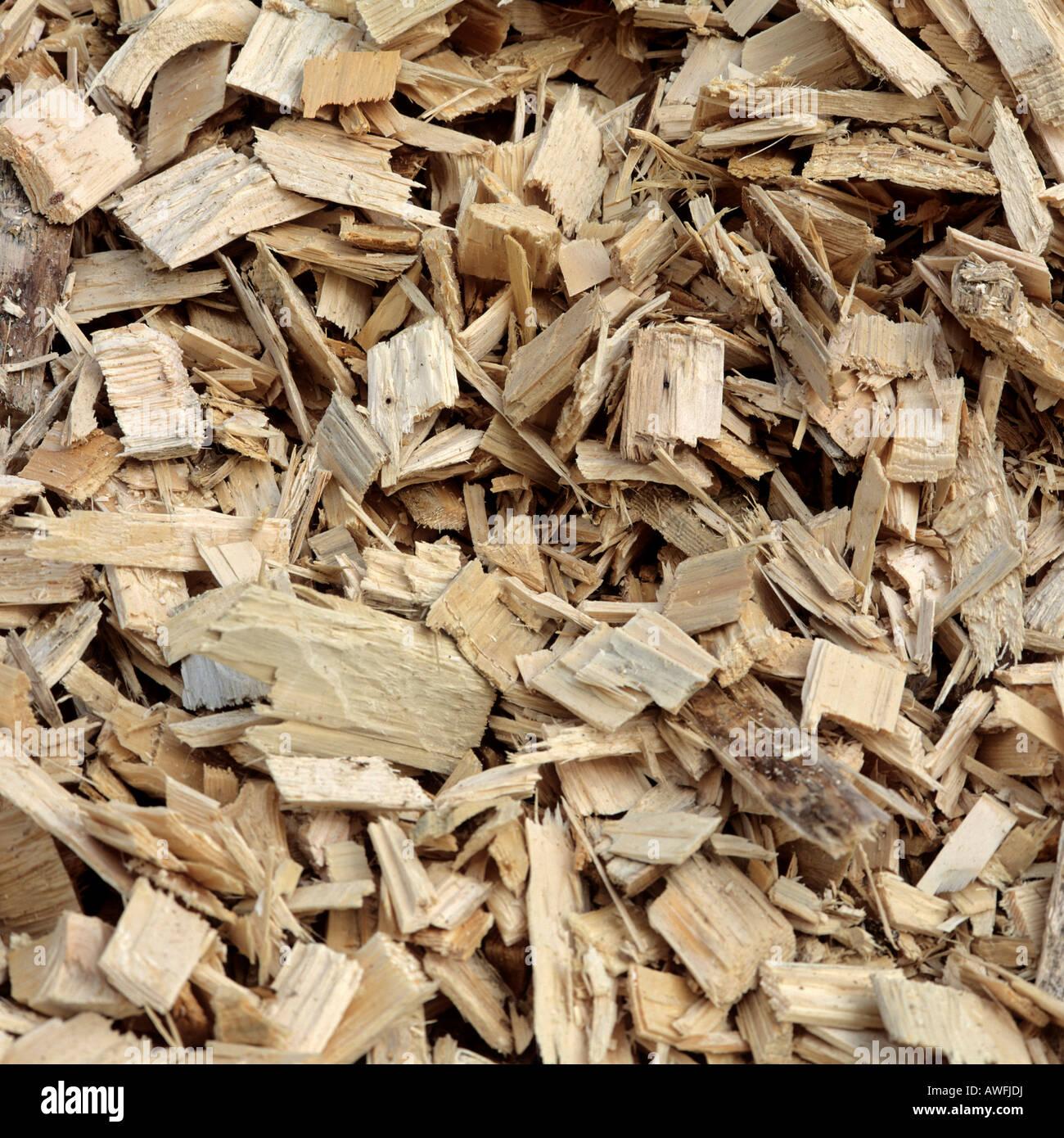 Woodchips utilizados como una fuente de energía Foto de stock