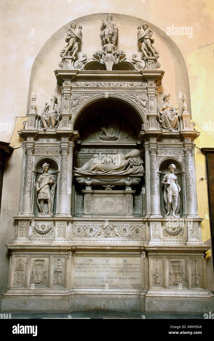 Roma, Santa Maria del Popolo, las tumbas de los Cardenales Ascanio Sforza y Girolamo Basso cardenal Della RovereFoto de stock