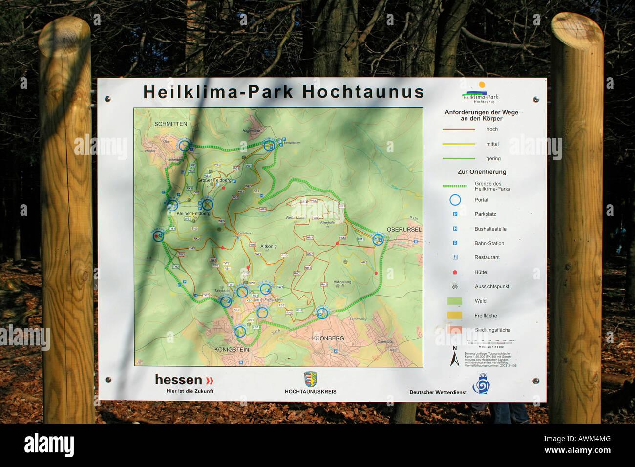 Mapa de la Salud Parque Clima Hochtaunus, región de Taunus, Hesse, Alemania, Europa Imagen De Stock