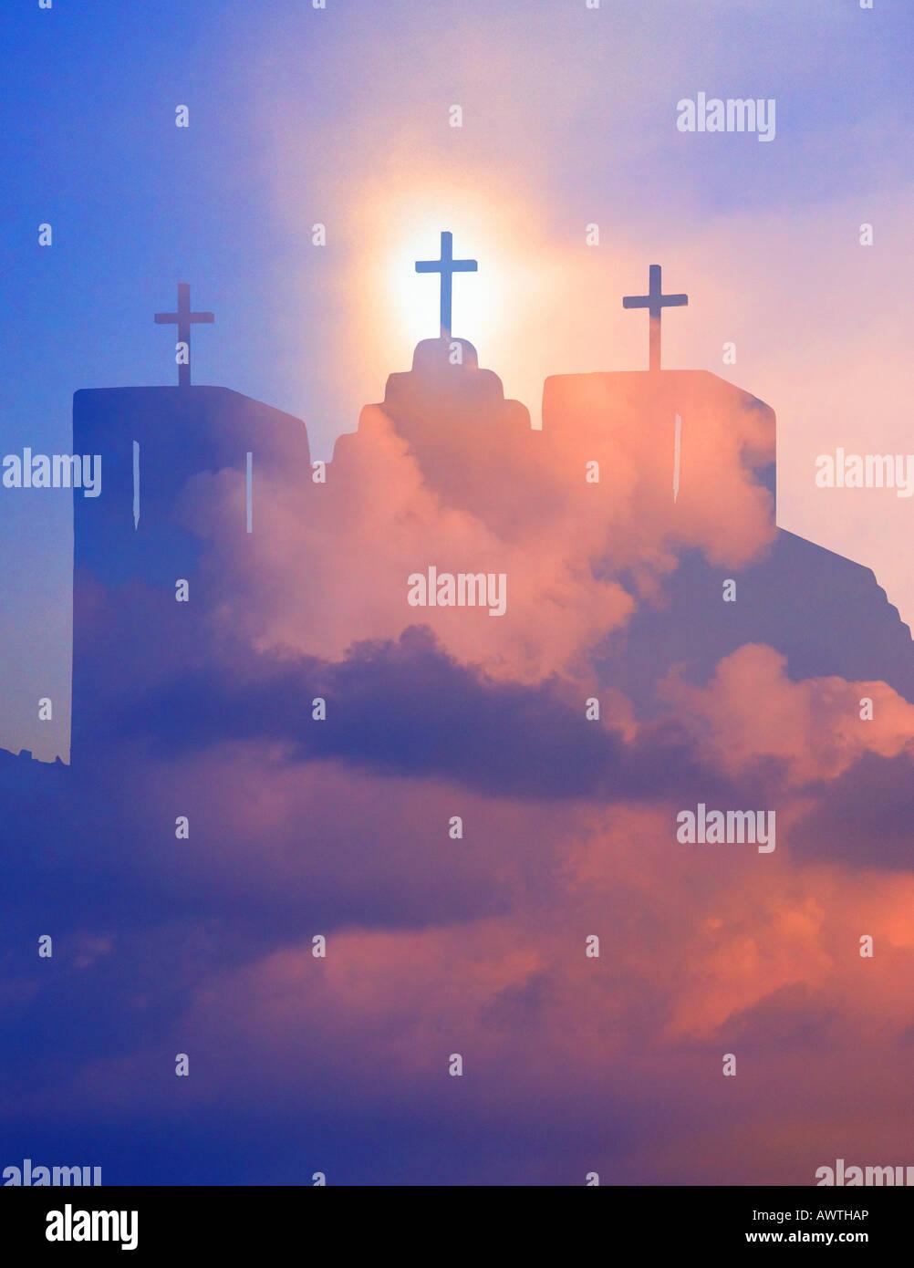 Iglesia con tres cruces, New México Imagen De Stock