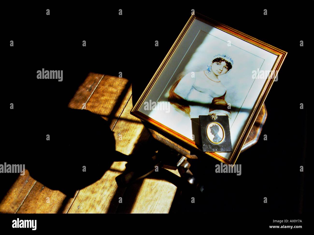 El único conocido retrato de la hermana de Jane Austen Cassandra en el museo de la Casa [de Jane Austen] Imagen De Stock