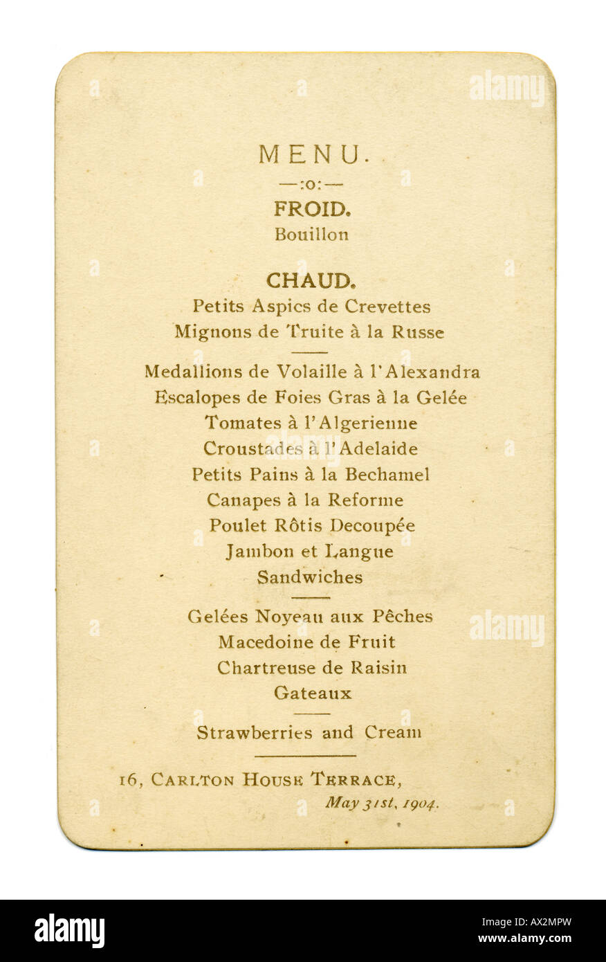 1900 Edwardian Menú Cena el 31 de mayo de 1904 Imagen De Stock