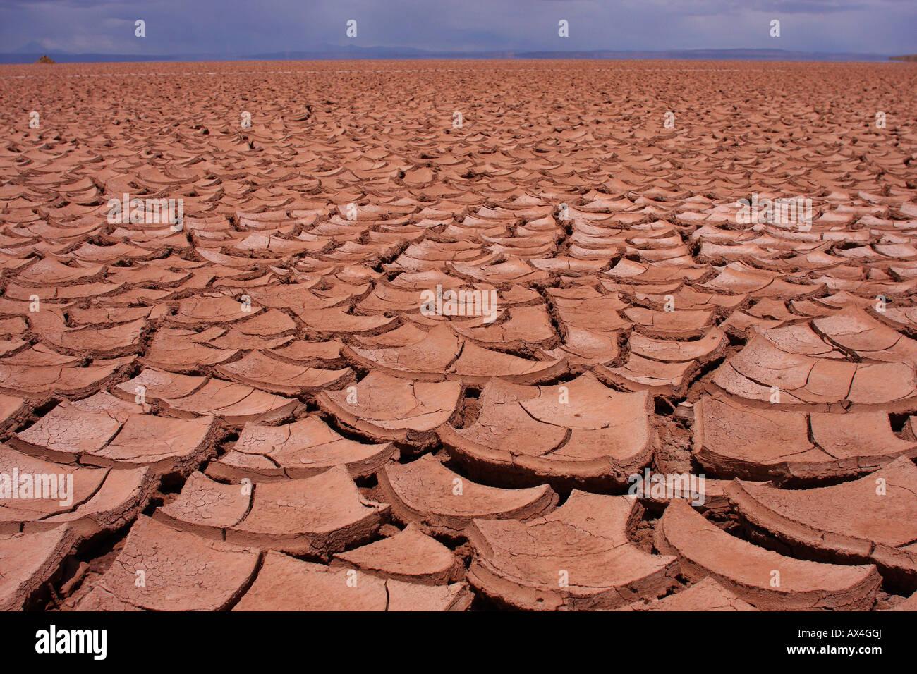 Una enorme extensión de agrietado, seco, el barro y el suelo en el altiplano de Bolivia. Imagen De Stock