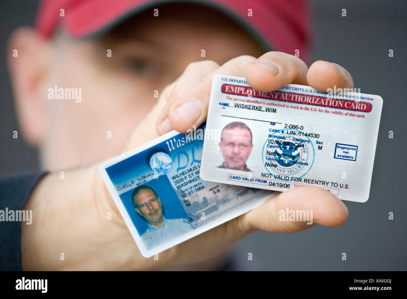 Nosotros, el Documento de Autorización de Empleo EAD tarjeta, conocida popularmente como nosotros Permiso de Imagen De Stock