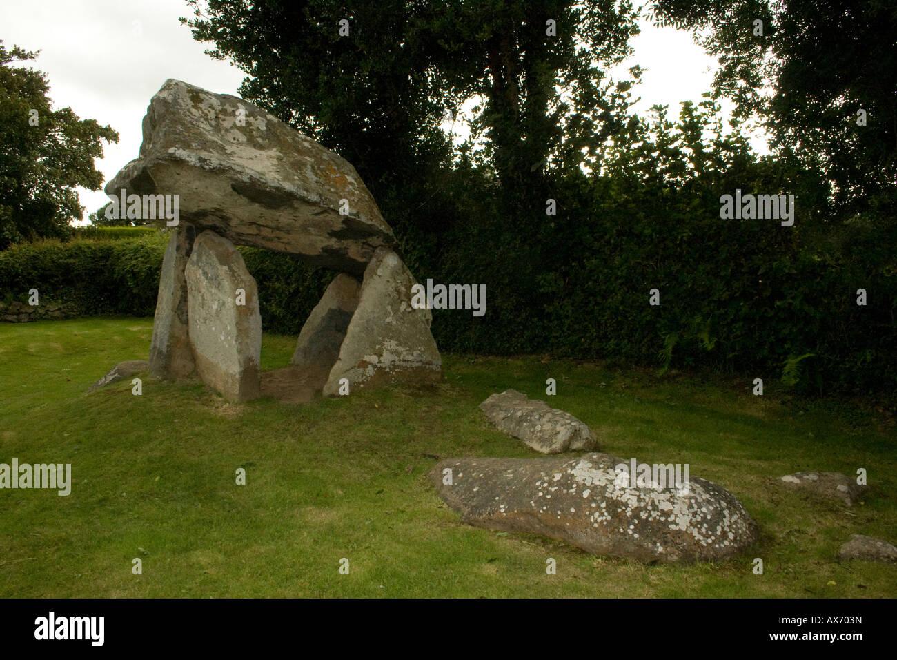 Carreg Coetan Arthur cámara mortuoria (Dolmen) en Newport, Gales pembrokeshire cerca carn Ingli. Foto de stock