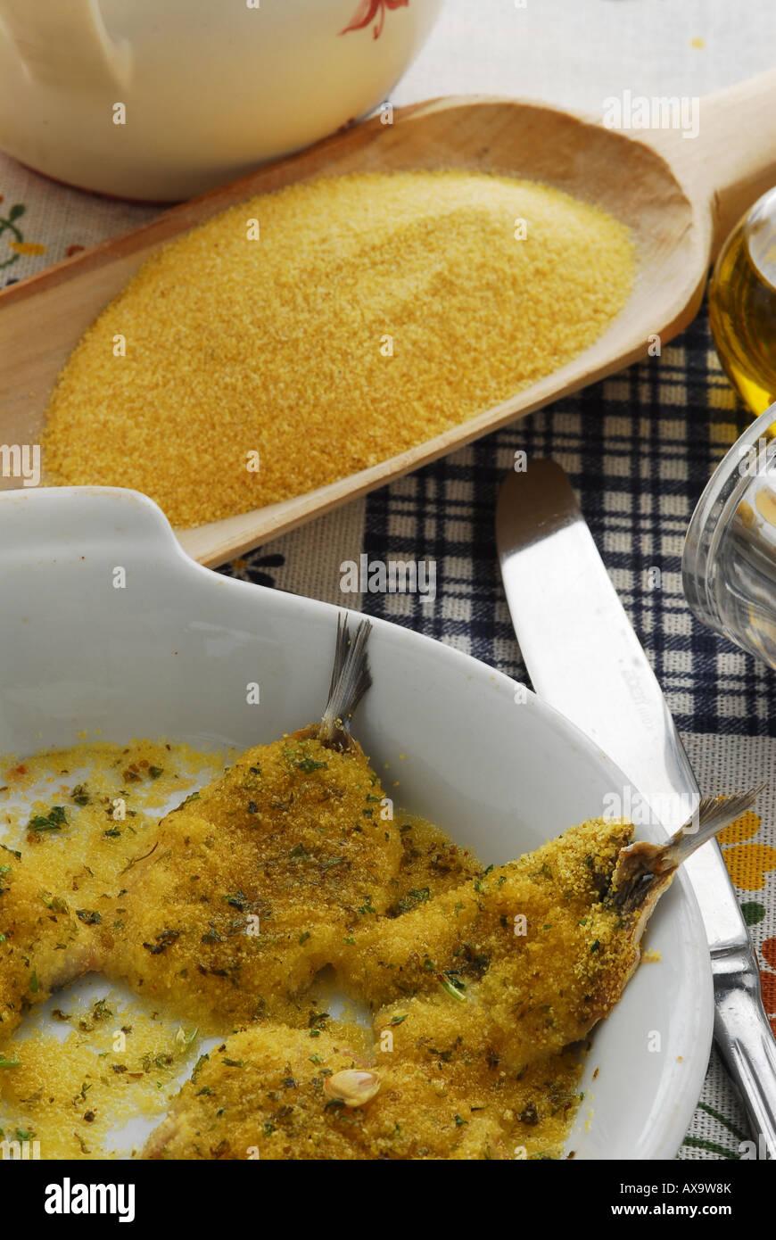Anchoas gratinadas - Acciughe gratinate - Toscana receta - cocina italiana Imagen De Stock