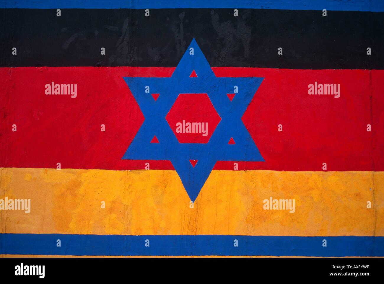 Resultado de imaxes para bandera alemana israeli muro berlin