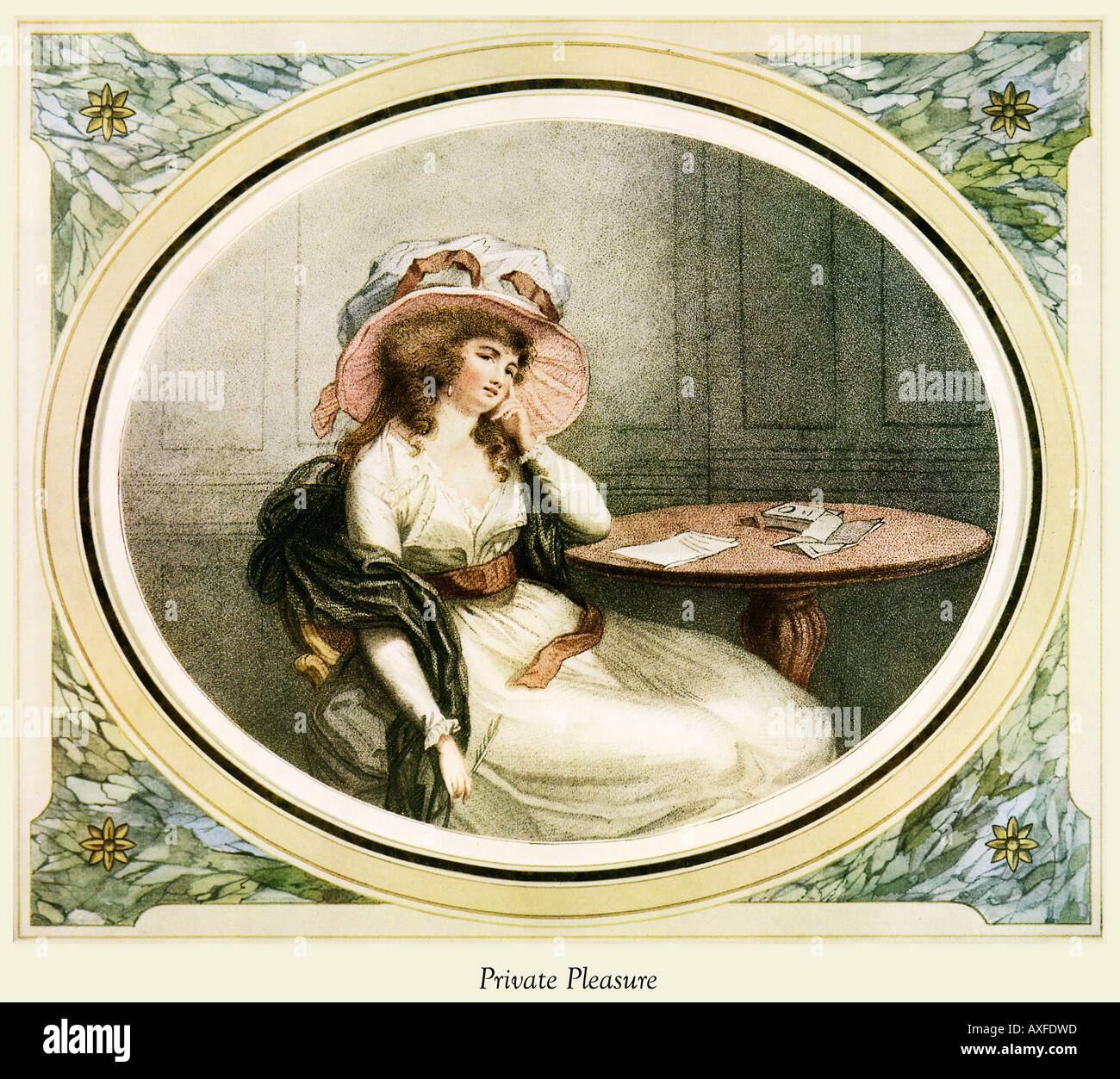 Placer privado Regency imprimir de una señora en casa redactando una carta por William Ward y grabado por John Henry Ramberg Imagen De Stock