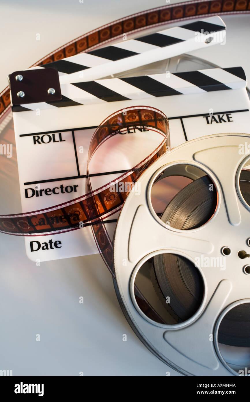 Rollo de película de cine y tablillas Imagen De Stock