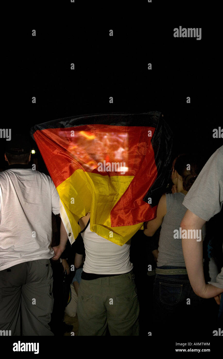 Durante el juego de fútbol Alemania Polonia cuando los alemanes hicieron su gol en el minuto 91 Imagen De Stock