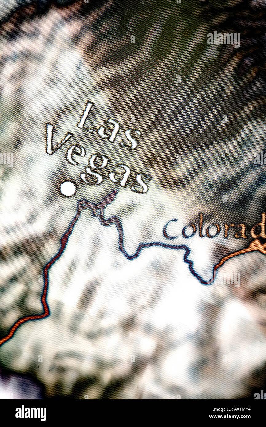 Maximo Acercamiento Del Mapa De Las Vegas Nevada En Los Estados Unidos De America Fotografia De Stock Alamy