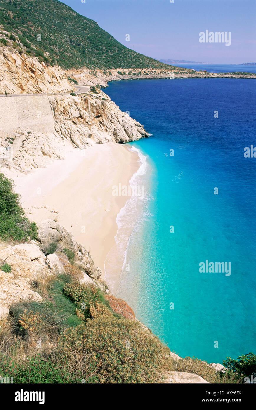 Playa Kaputas, Licia, en Anatolia, Turquía, Asia Menor, Asia Foto de stock
