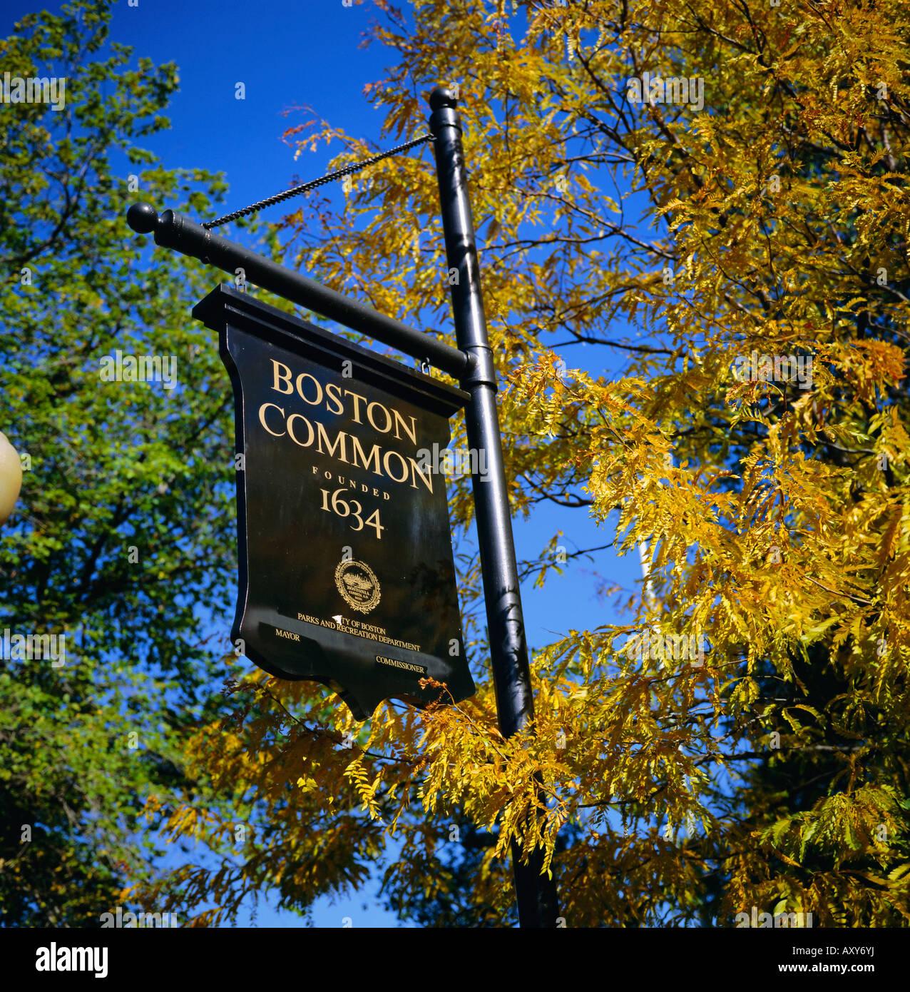 Signo común de Boston, Boston Common, Massachussets, Nueva Inglaterra, Estados Unidos, América del Norte Imagen De Stock