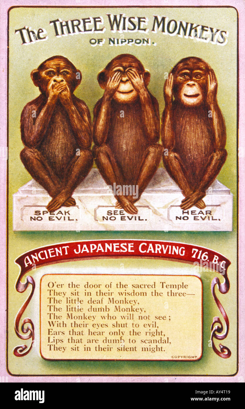 3 Monos Sabios Tatuajes evil japanese imágenes de stock & evil japanese fotos de
