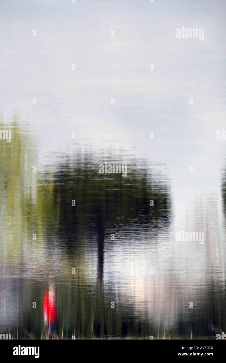 La reflexión del hombre caminando por el lago Imagen De Stock