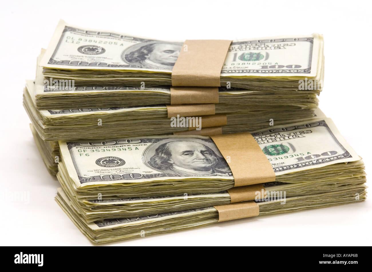 Packs de 100 billetes de dólar US concepto Imagen De Stock