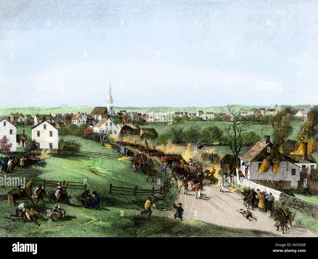 Retiro de los británicos de la Concordia al comienzo de la Revolución Americana de 1775. Mano de color acero grabado Foto de stock