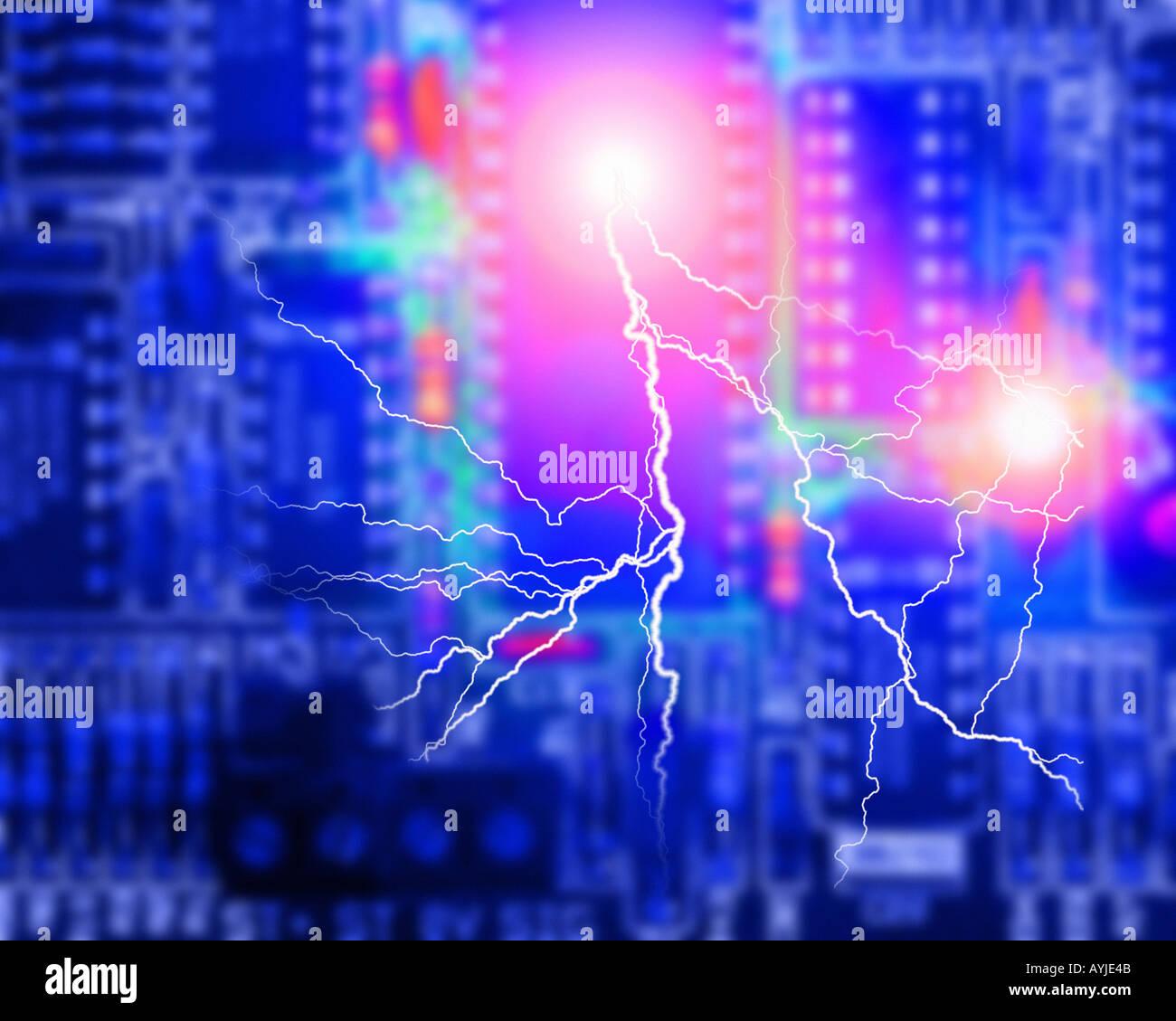 Concepto de la electrónica: Placa de circuito Imagen De Stock