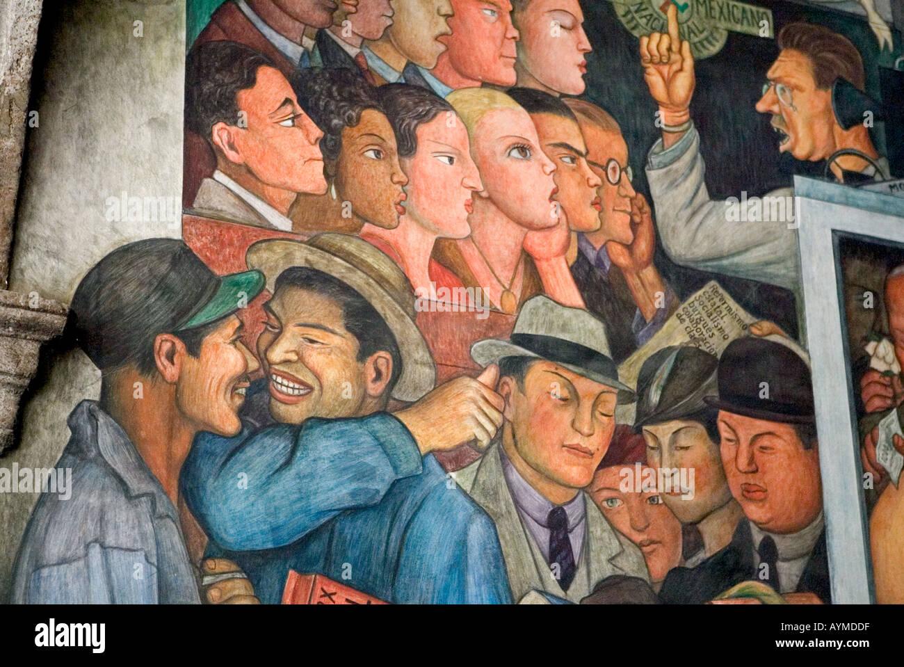 El Artista Mexicano Diego Rivera Mural De La Historia Mexicana En El