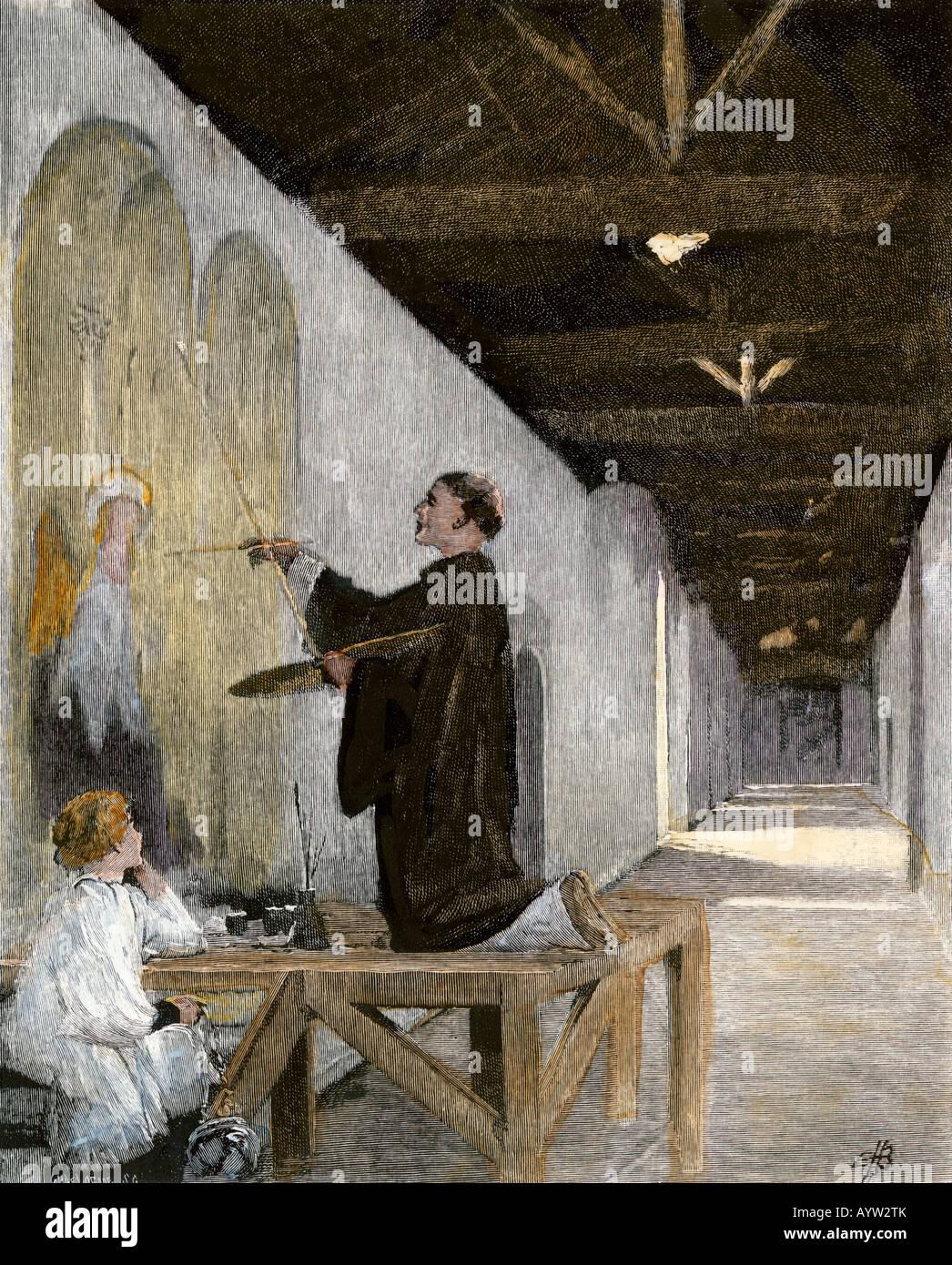 Pintando un fresco en Florencia durante el Renacimiento. Xilografía coloreada a mano Imagen De Stock