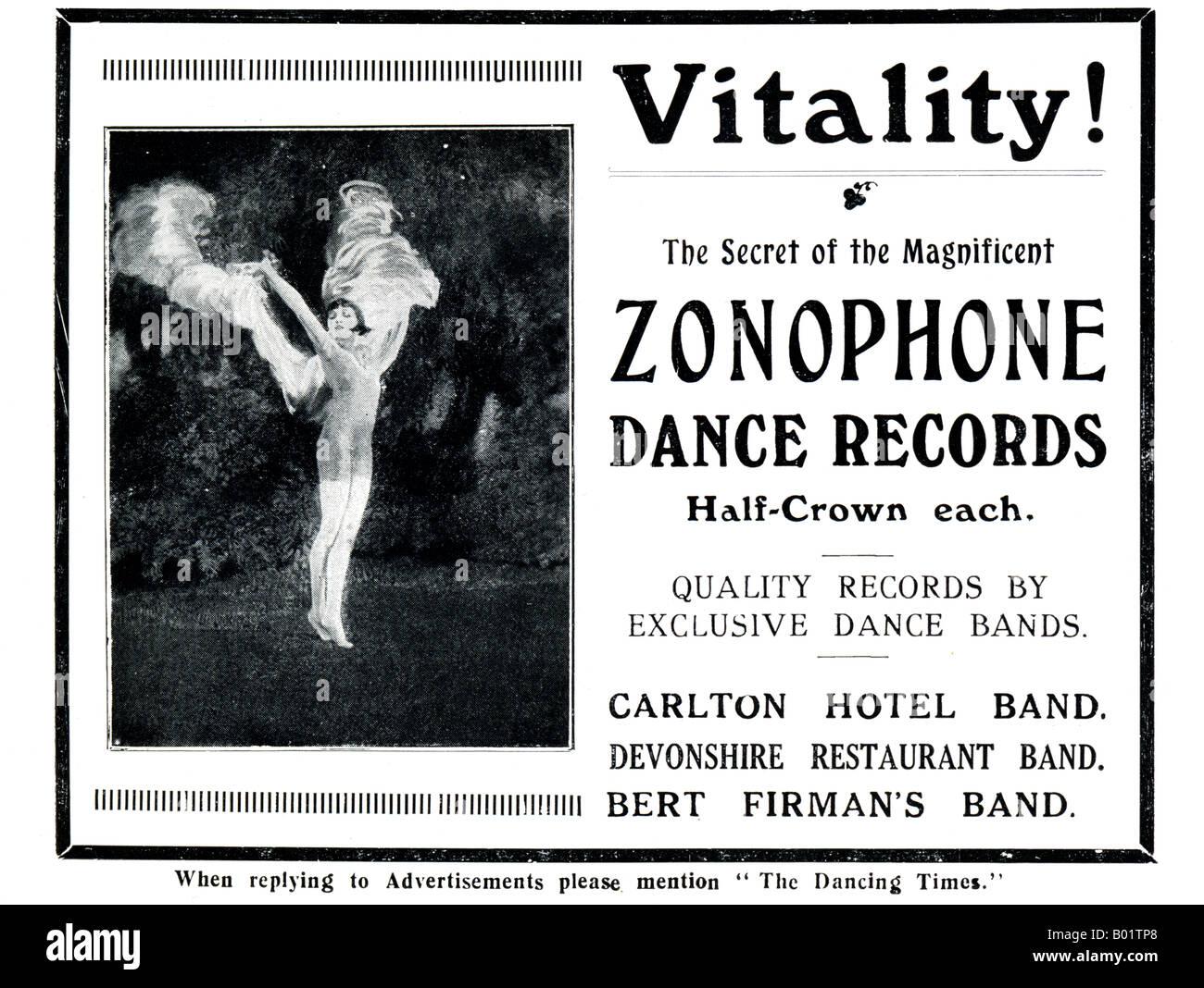 1920 Anuncio para Zonophone Danza de registros de 1927 SÓLO PARA USO EDITORIAL Foto de stock