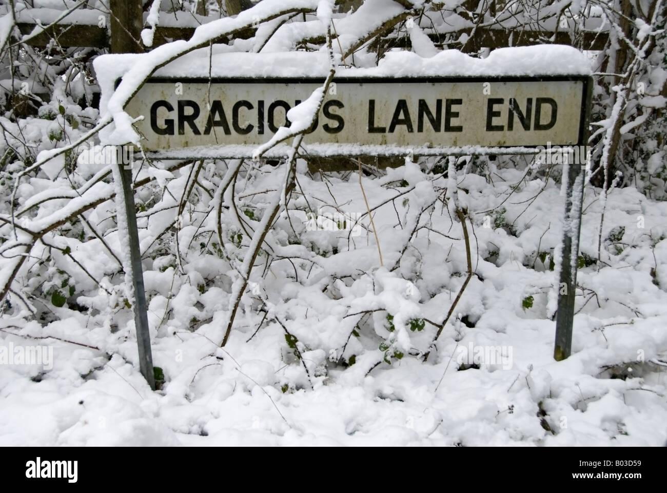 Escena nevada en Kent, Reino Unido. Foto de stock