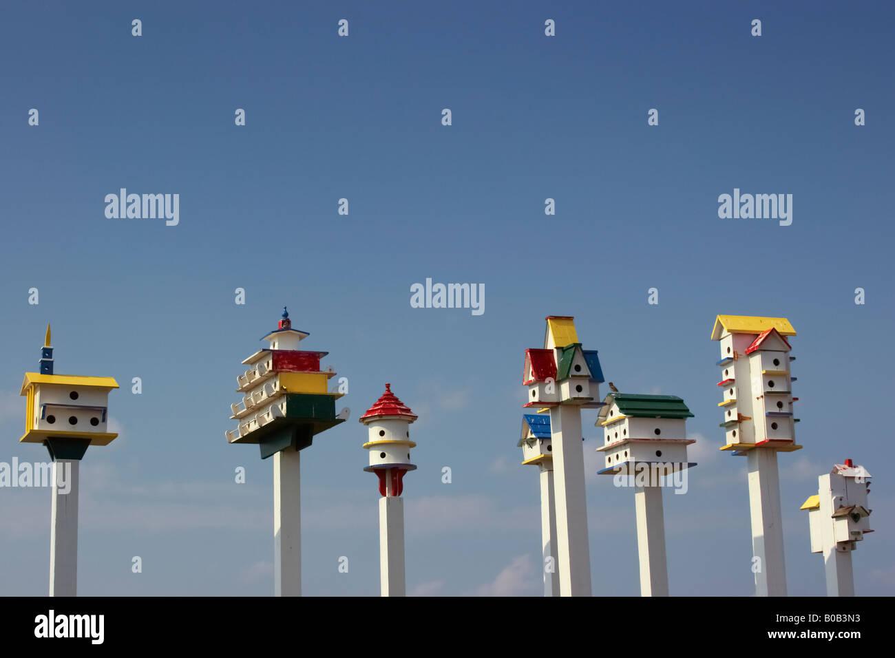 Colorido birdhouses en el patio delantero de una propiedad en Rt 12 Costas Sur Carolina del Norte Imagen De Stock