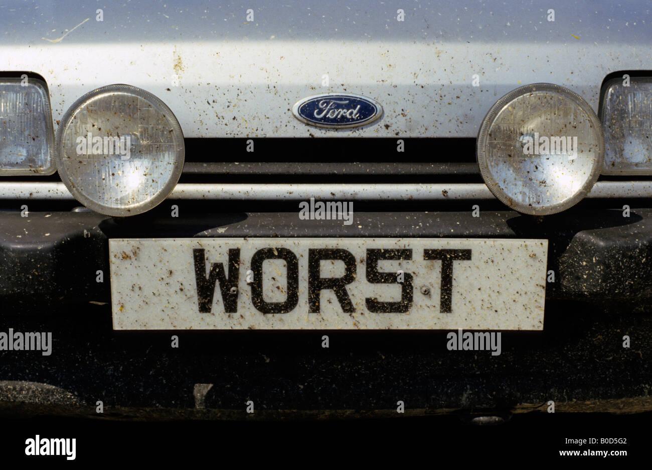 """WOR5T' (peor) alquiler de matrícula, Reino Unido. Foto de stock"