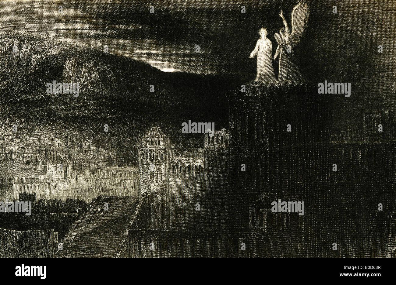 Grabado del siglo XIX la tercera tentación 1835 a partir de un cuadro pintado por J Martin de John Milton's Imagen De Stock