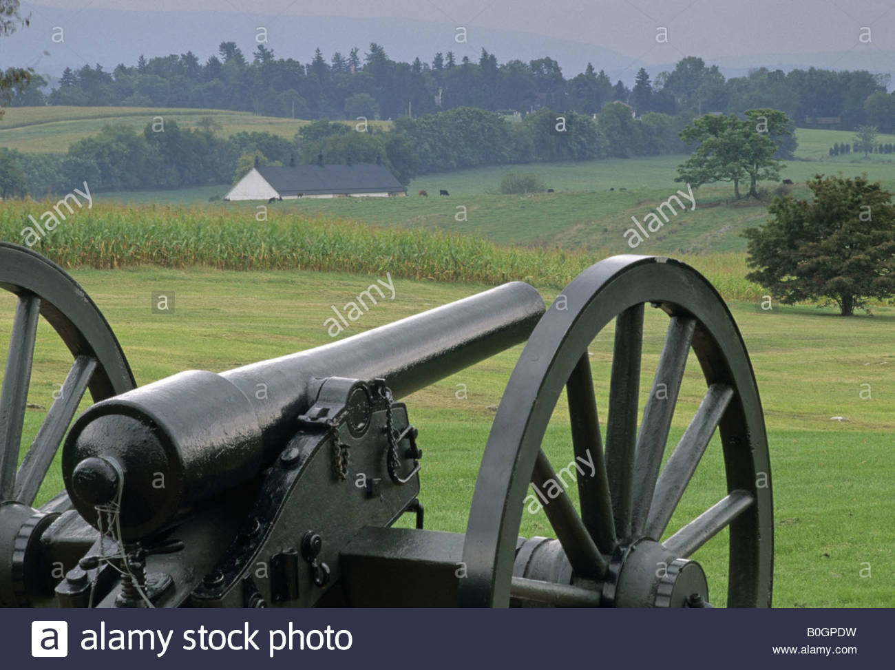 Cañón de la guerra civil en Antietam National Battlefield, Sharpsburg Maryland, EE.UU. Foto de stock