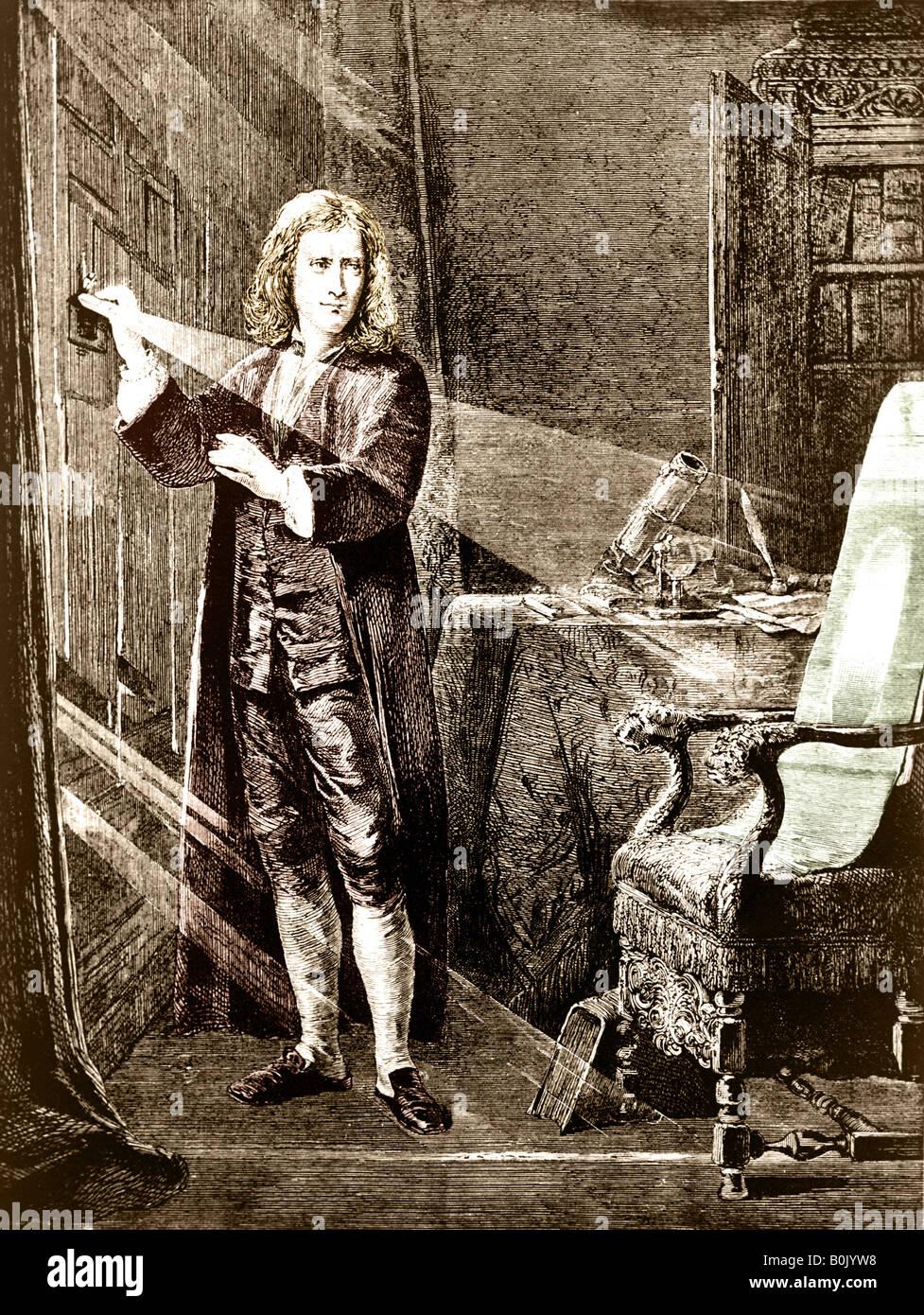 Sir Isaac Newton, el filósofo y científico, analizando el rayo de luz. Imagen De Stock