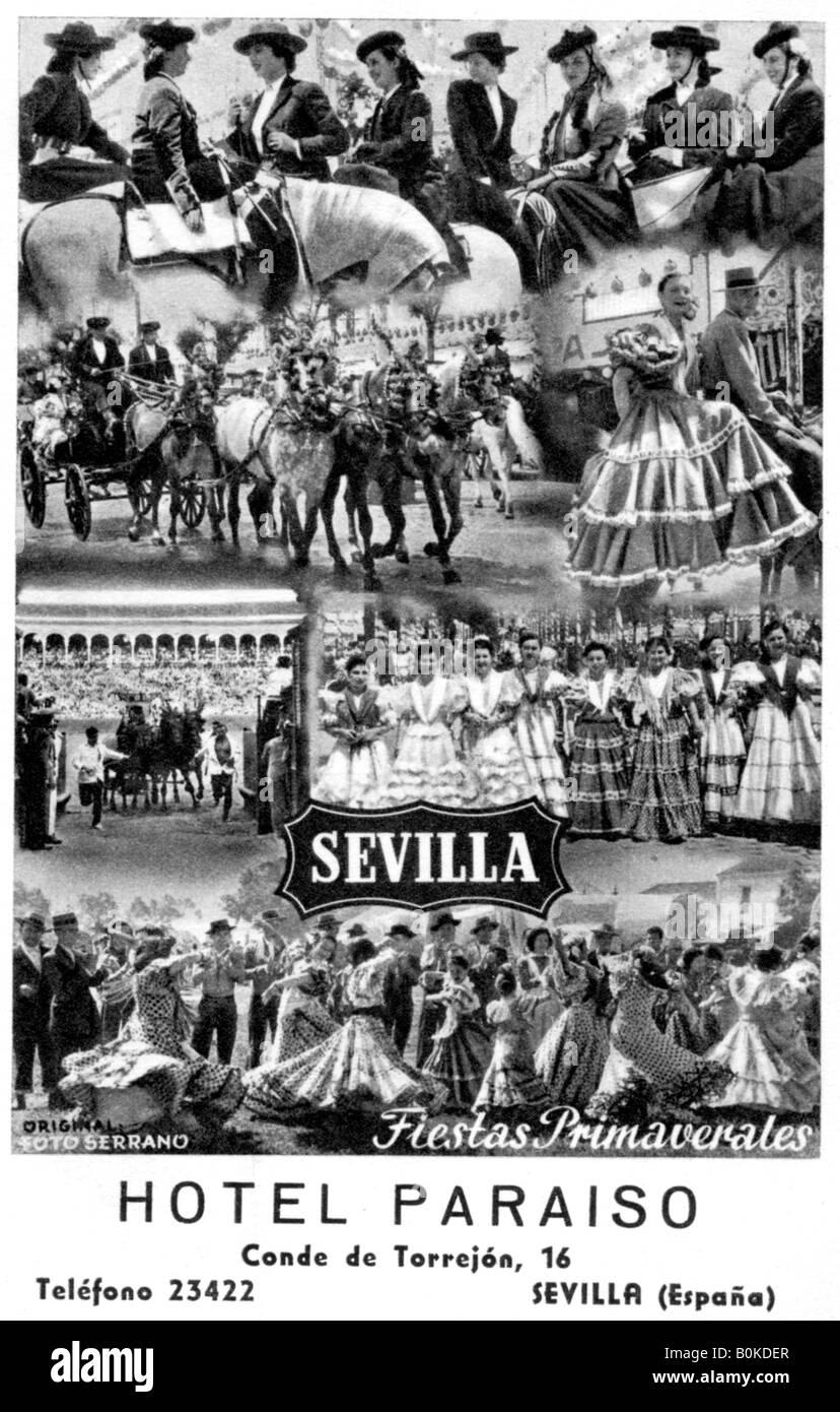 Hotel Paraiso, Sevilla, España, del siglo XX. Imagen De Stock