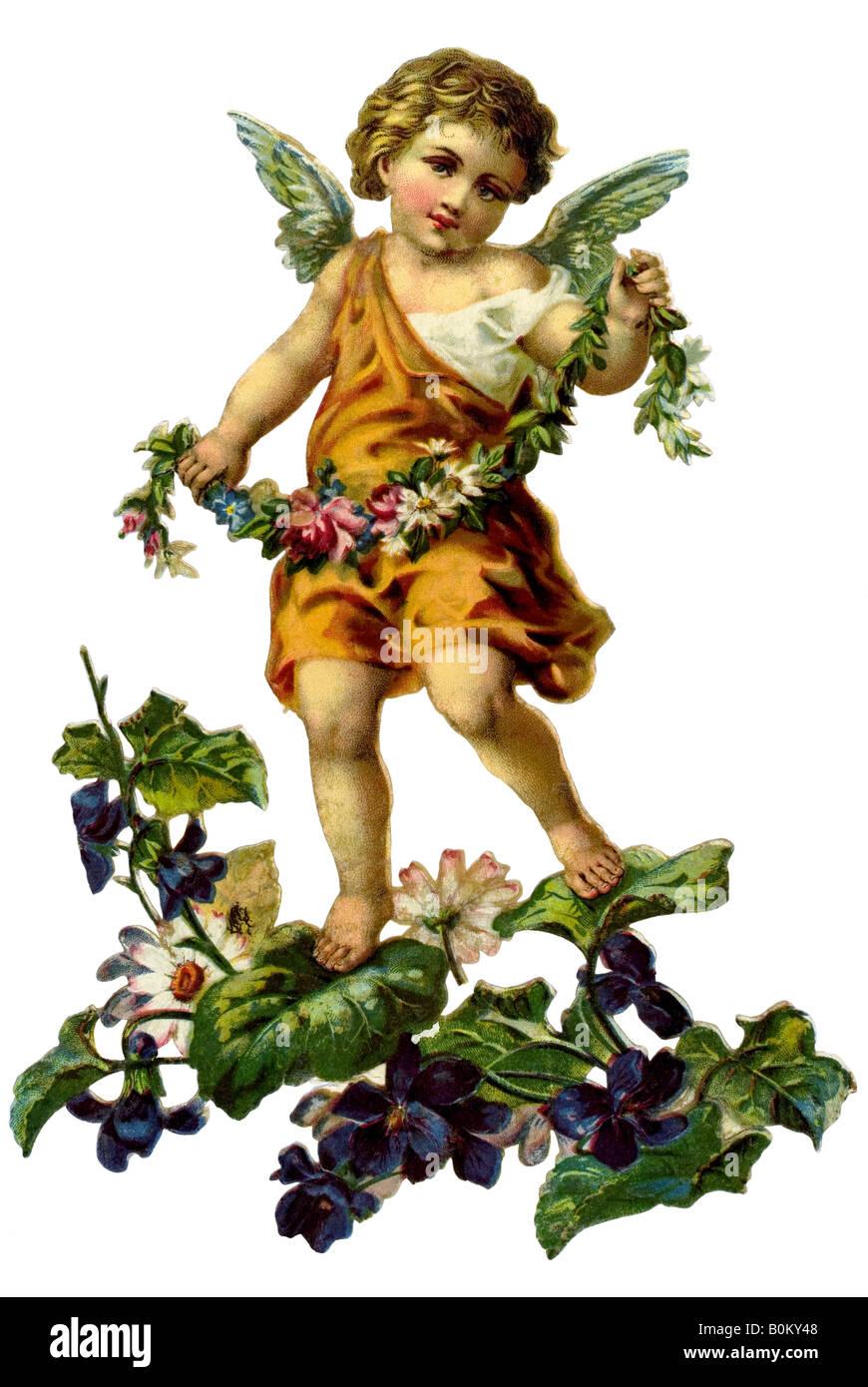 Los niños de angel en ramo de violetts, Forget-me-not Alemania del siglo XIX. Imagen De Stock