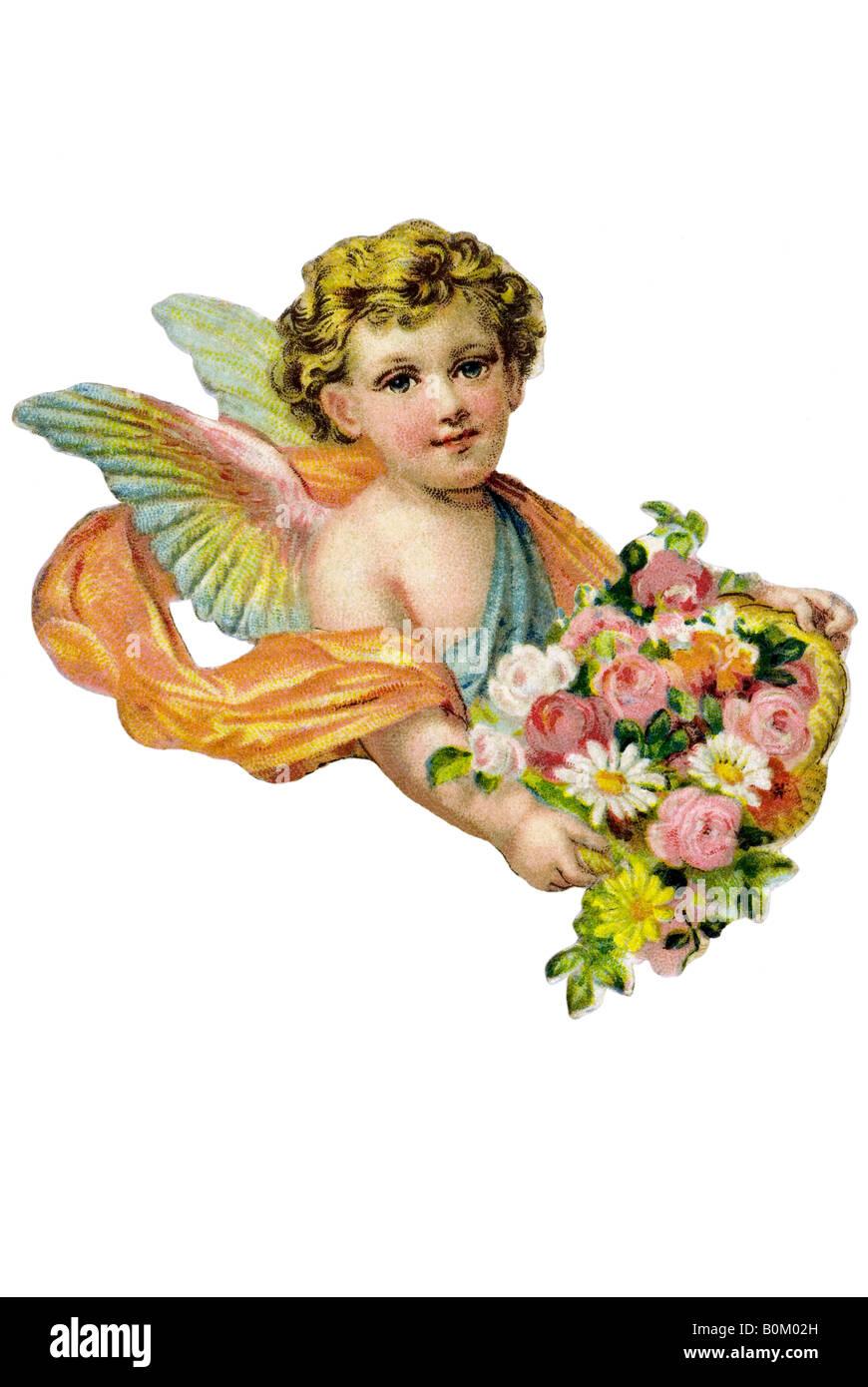 Torso niños rubios ángel cesta de rosas del siglo XIX Alemania Imagen De Stock