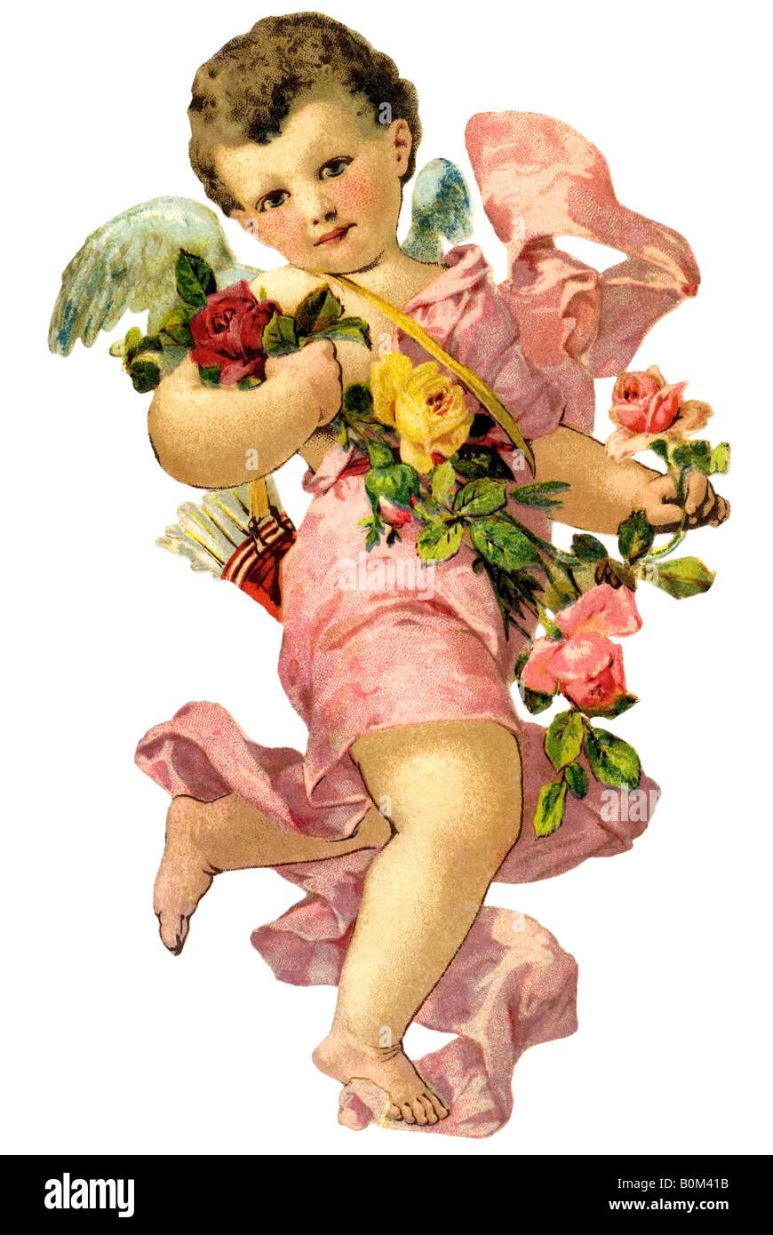 Levitar niños angel rose garland flechas de amor del siglo XIX Alemania Imagen De Stock