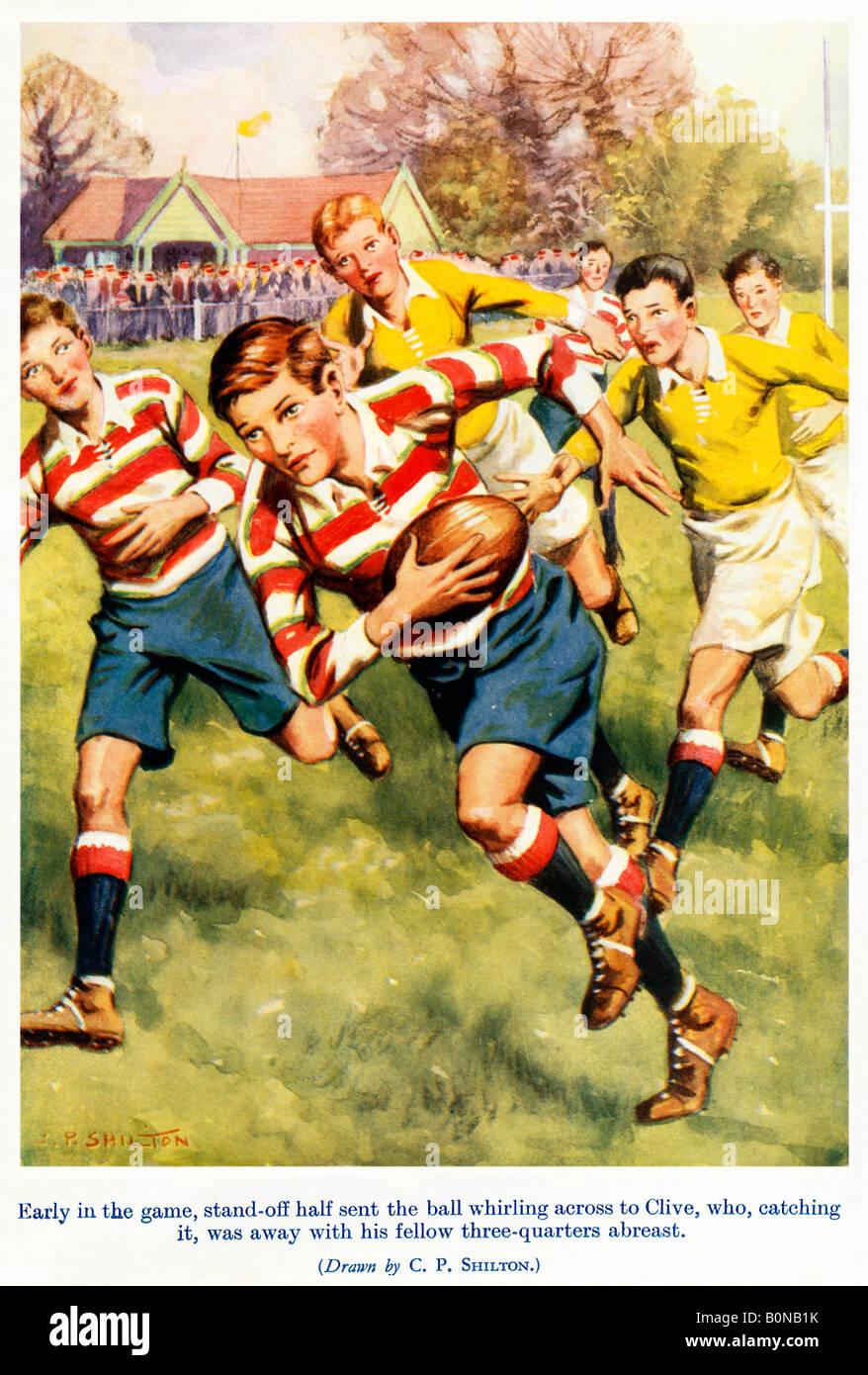 Temprano en el juego ilustración de un cómic 1920 chicos de un descanso por las tres cuartas partes de Imagen De Stock