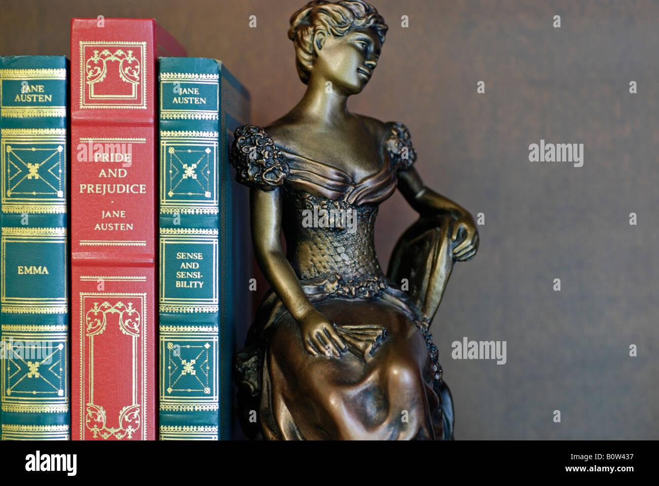 Libros encuadernados en cuero y el libro final, Jane Austen clásicos Imagen De Stock