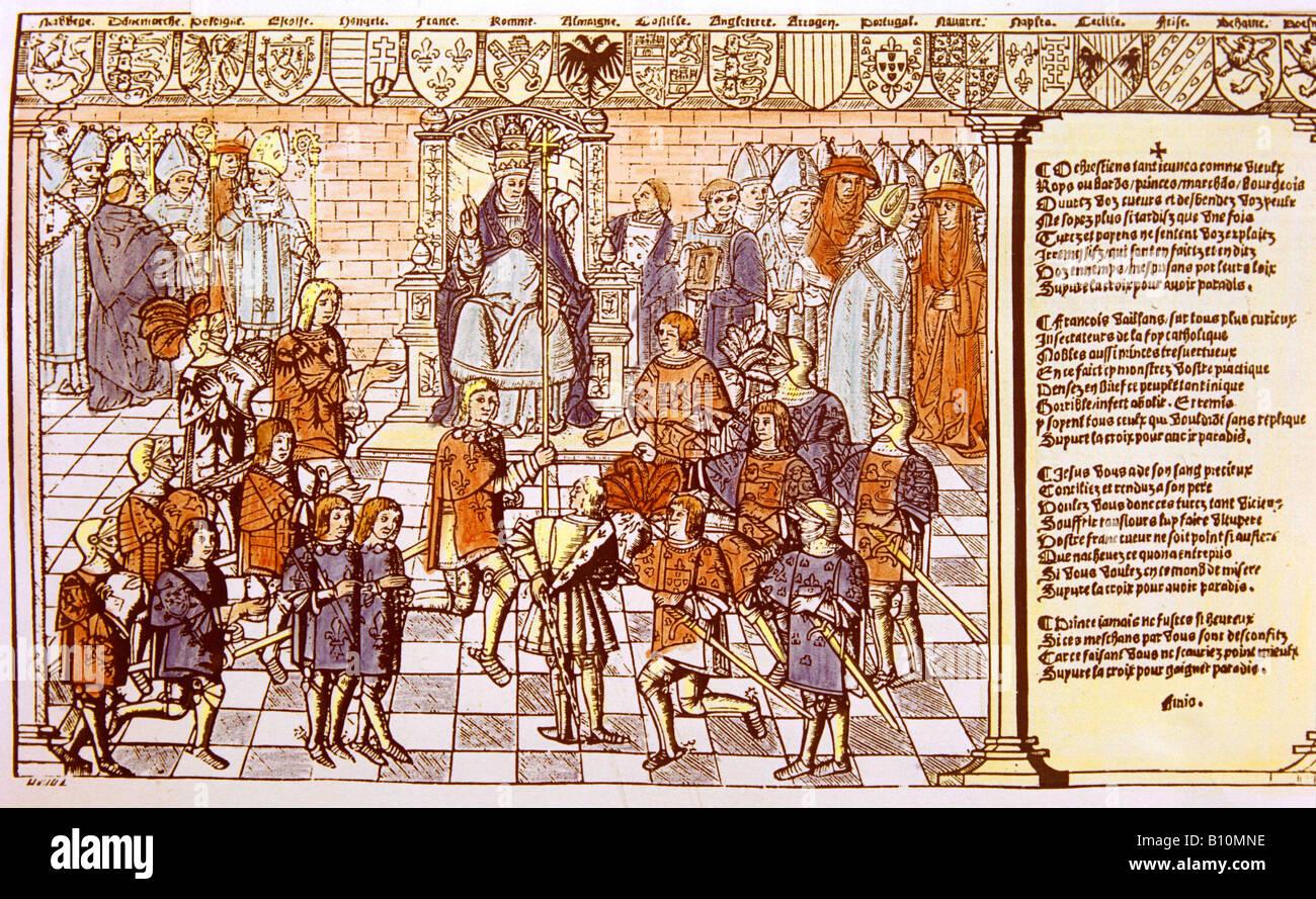 Cruzadas. El Papa Urbano II. Consejo de Clermont. Primera Cruzada Foto de stock
