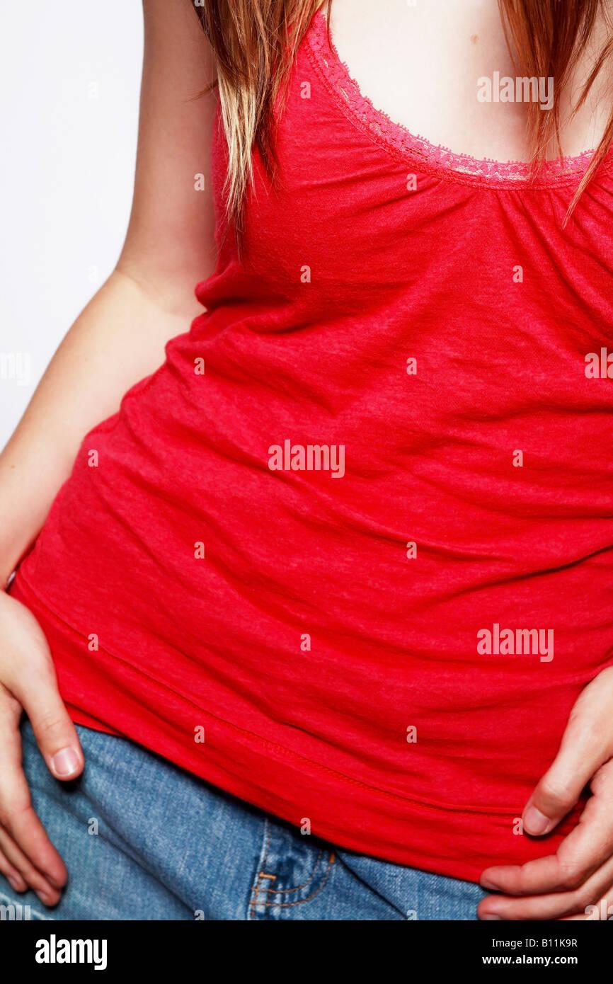 Mujer en rojo sin mangas Imagen De Stock
