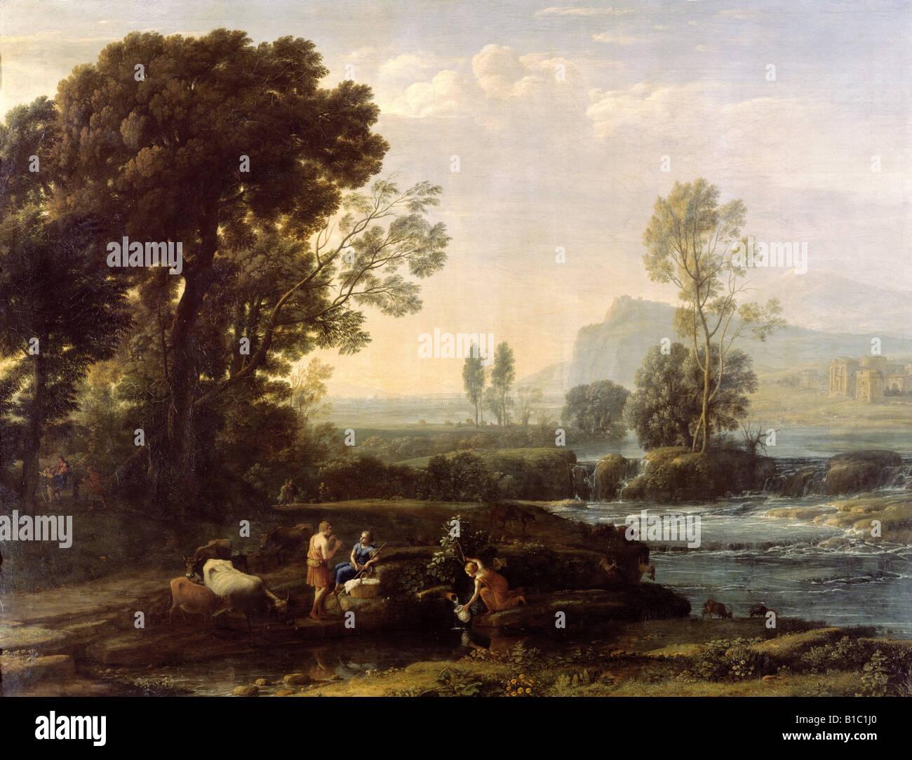 """Bellas artes, Lorrain, Claude (1600 - 23.11.1682), pintura, """"Paisaje con el descanso en la huida a Egipto"""", 1647, Foto de stock"""