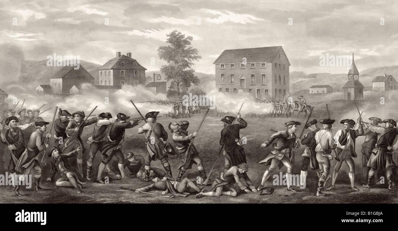 La batalla de Lexington, abril de 19,1775. Primeros disparos de la Guerra de Independencia Americana Foto de stock