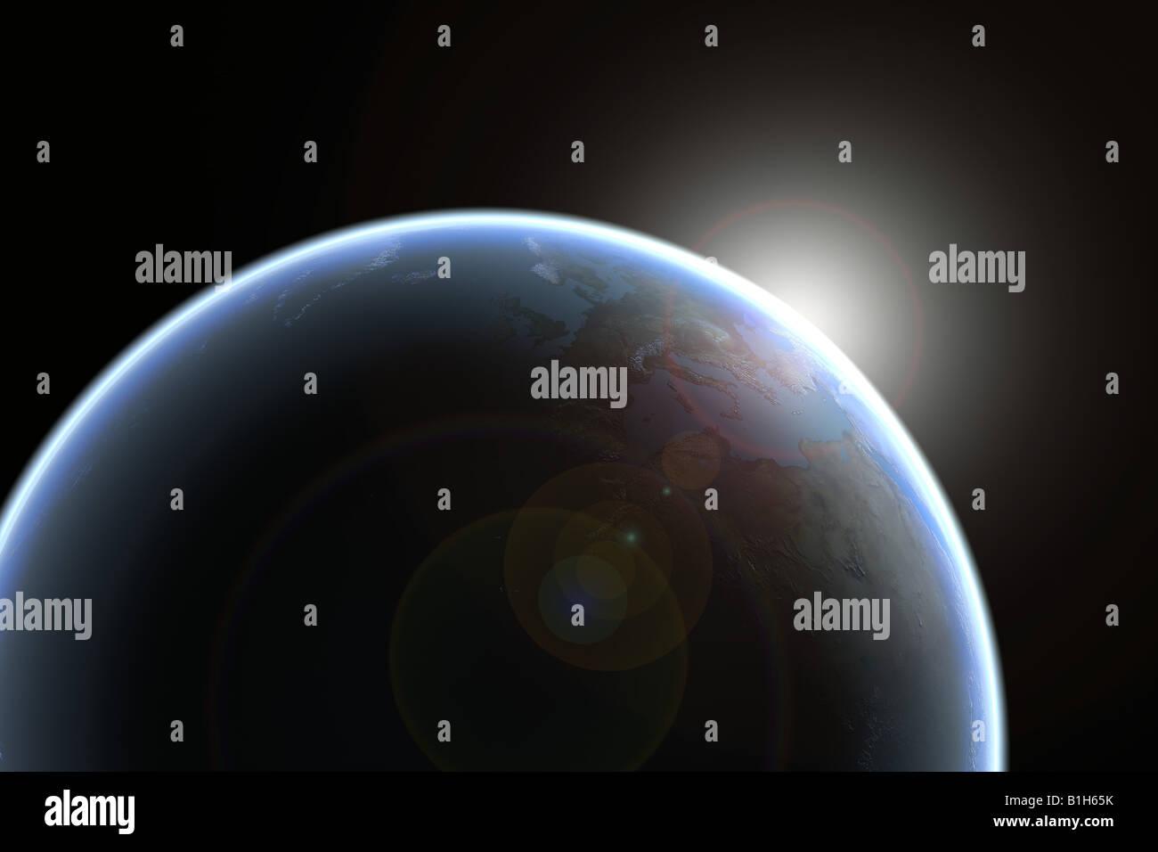 Sun surgiendo en el planeta tierra Imagen De Stock