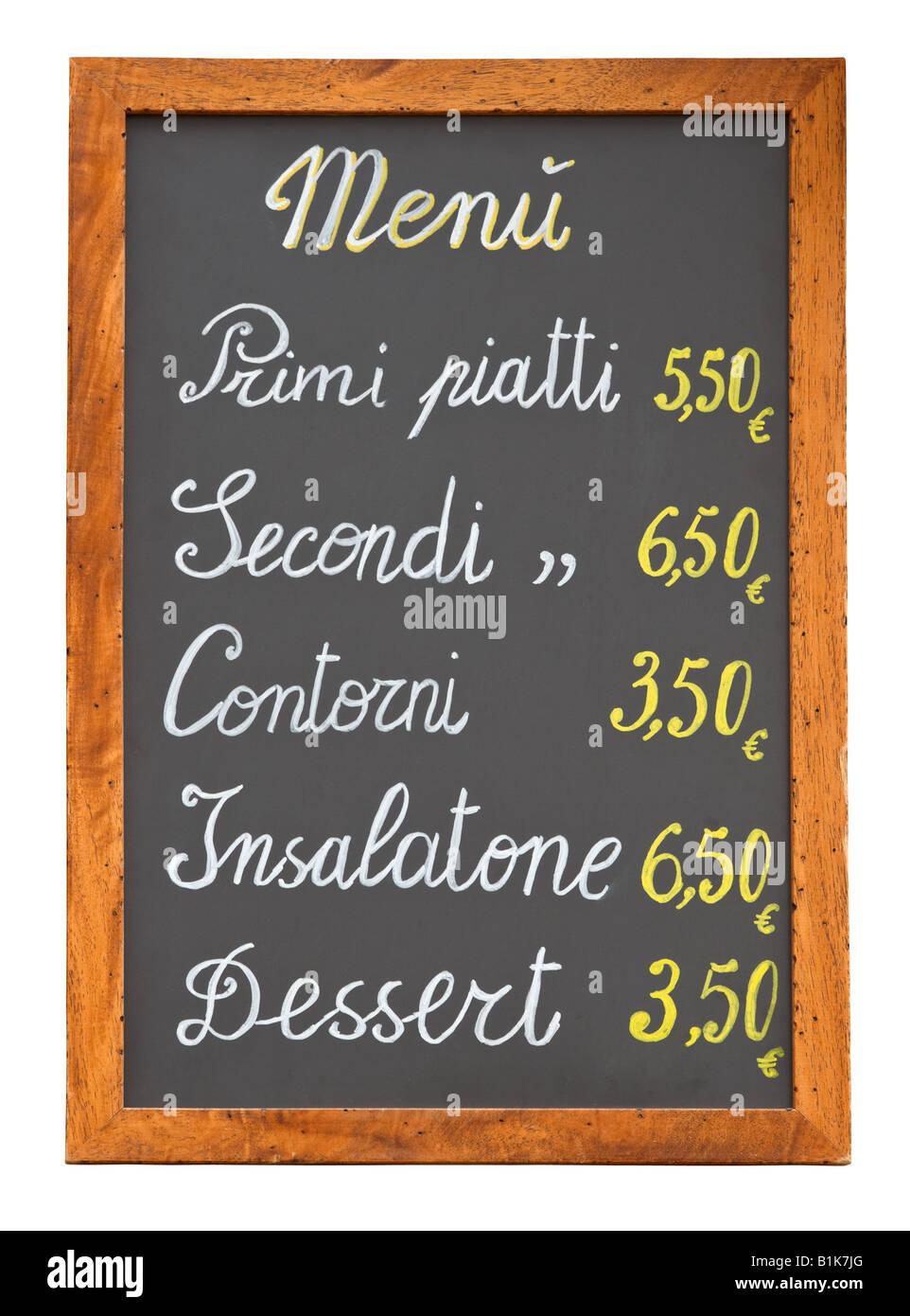 El menú del restaurante de comida rápida italiana pizarra aislado sobre fondo blanco. Imagen De Stock