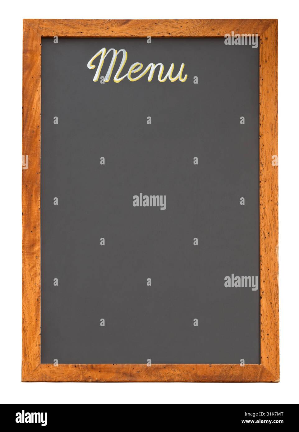 El menú del restaurante vacío pizarra aislado sobre fondo blanco. Imagen De Stock